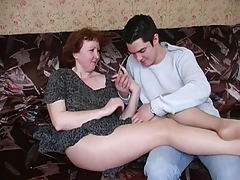 Russian older mama in hose and her boy! Amateur!