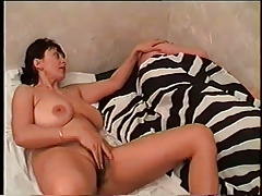 Good mama with titanesque saggy boobs, unshaved cum-hole & dude